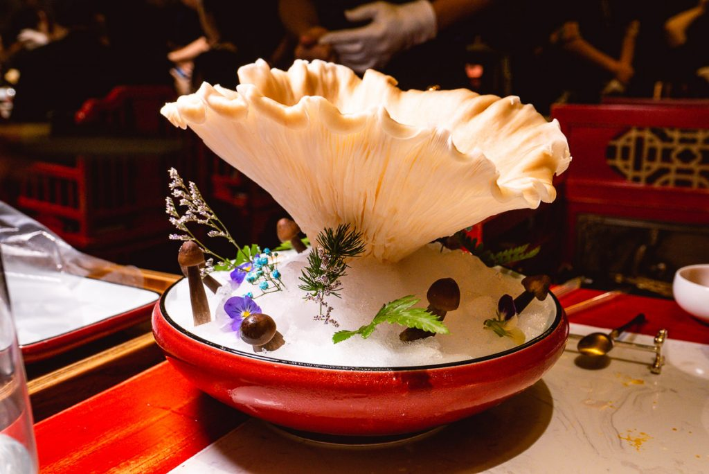 Bear Paw Mushroom at The Way of The Dragon, a high-end Sichuan hotpot restaurant on the Bund, Shanghai. Great for entertainment dining. Photo by Rachel Gouk.