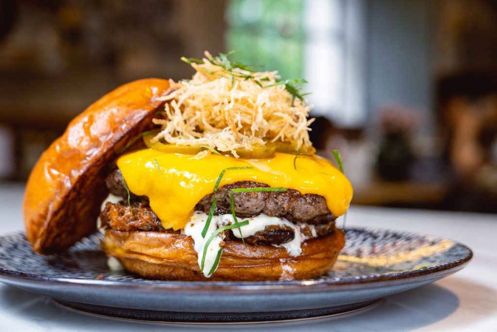 Burger at Head in the Clouds, an all-day brunch restaurant in Shanghai. (Photo by Rachel Gouk)