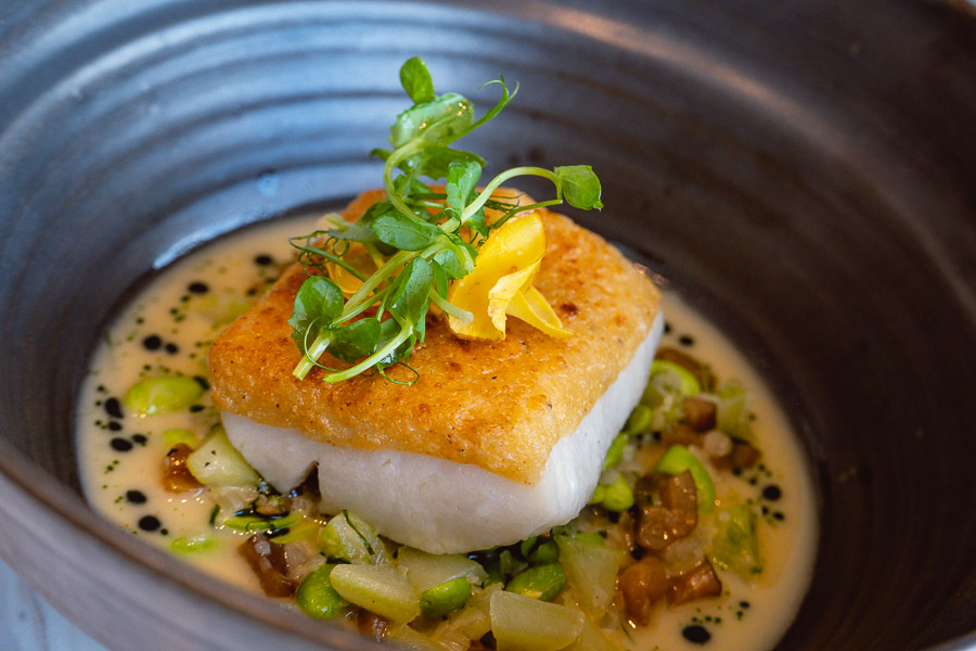 Halibut at Oxalis, contemporary French restaurant in Shanghai. Photo by Rachel Gouk