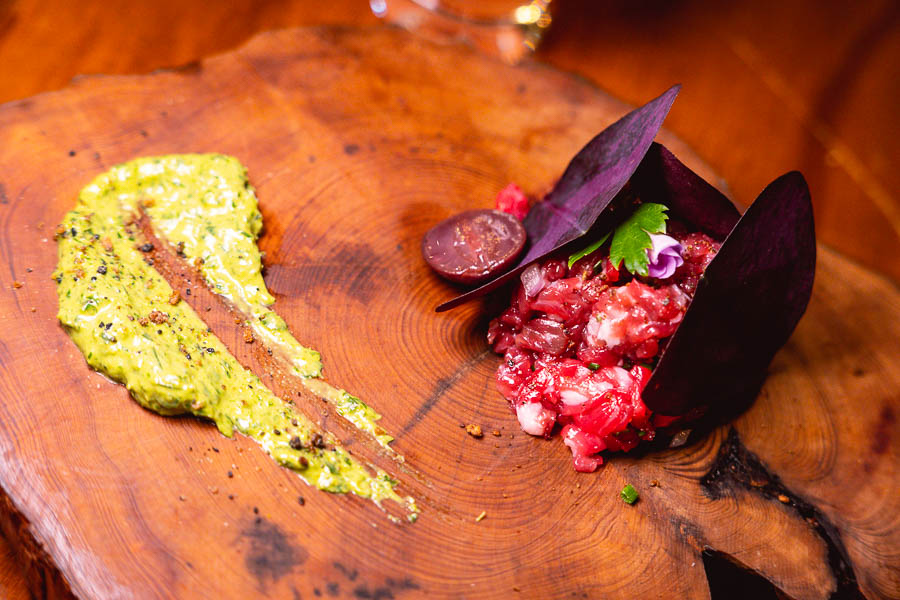 Beef tartare at Perch, a pop-up dining experience by the team behind The Nest, Shanghai. Photo by Rachel Gouk.