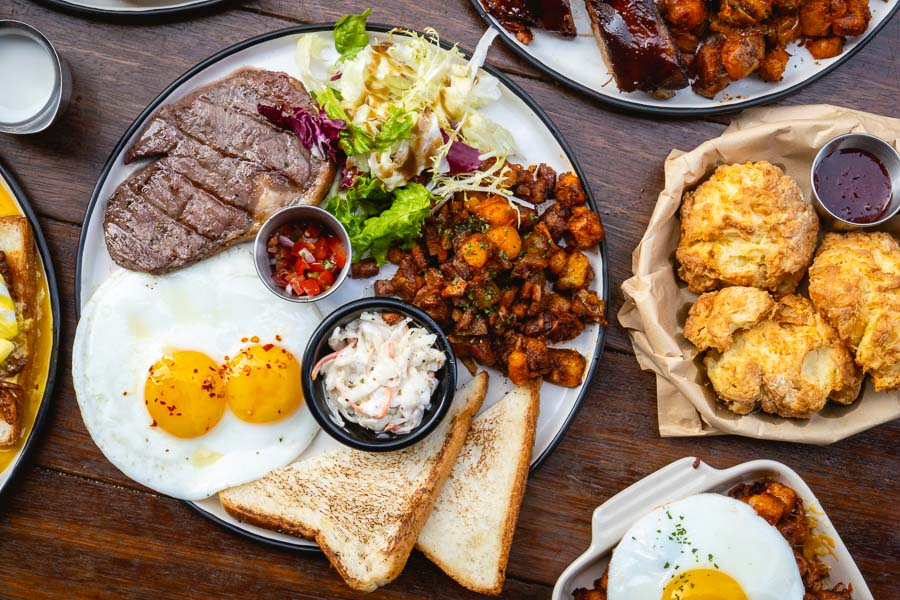 Steak and eggs for brunch at Chuckville, an American barbecue restaurant and sports bar in Shanghai. Photo by Rachel Gouk.