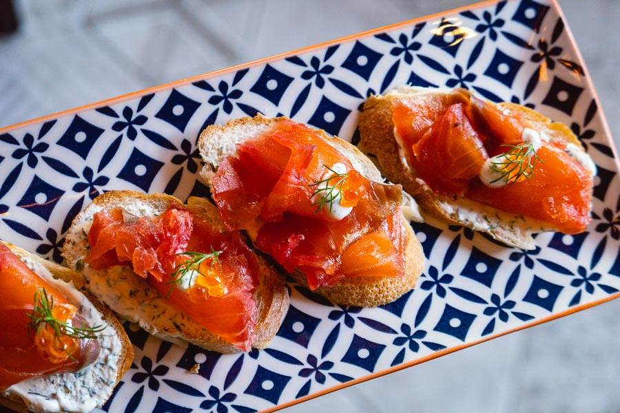 Bruschetta at Perch, an easy-going neighborhood cocktail bar in Shanghai. Photo by Rachel Gouk.
