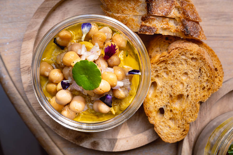 Hummus at Popot, a cafe in Shanghai serving French food in eco-friendly glass jars. Photo by Rachel Gouk.