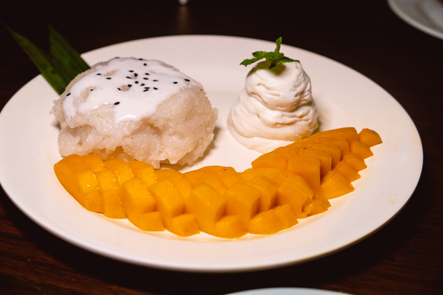 Mango sticky rice at KIN, a Thai restaurant in Shanghai. Photo by Rachel Gouk.