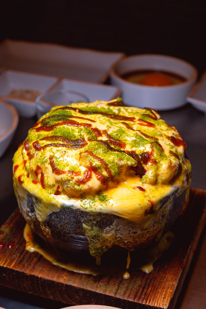 Cheese egg at Botong Sikdang, a popular Korean restaurant in Shanghai that does grilled pork and banchan. Photo by Rachel Gouk.