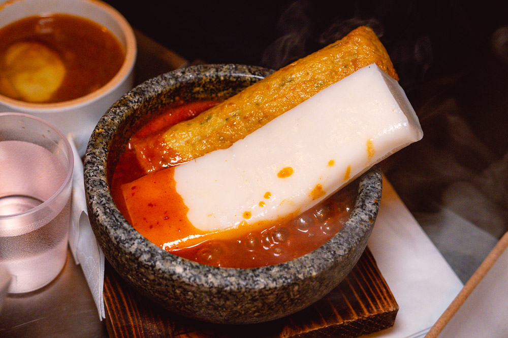 Tteokbokki at Botong Sikdang, a popular Korean restaurant in Shanghai that does grilled pork and banchan. Photo by Rachel Gouk.