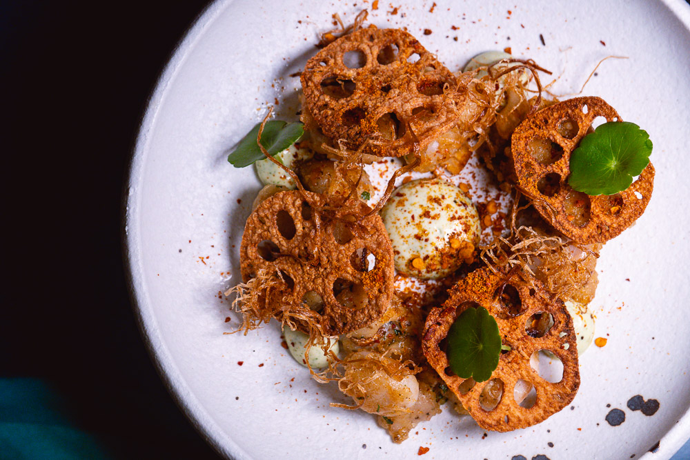 Lotus root  at Chameleon, a cocktail bar and restaurant in Shanghai. Photo by Rachel Gouk.