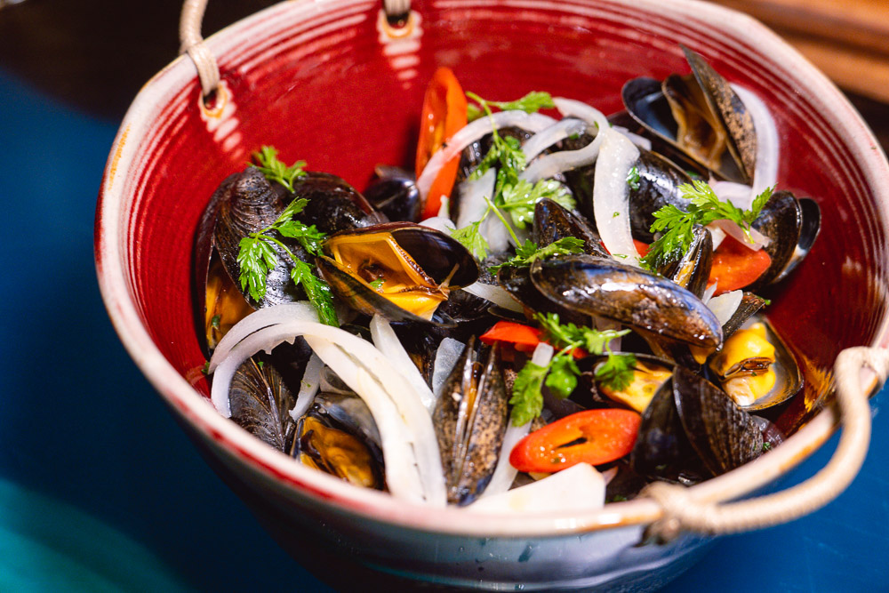 Mussels at Chameleon, a cocktail bar and restaurant in Shanghai. Photo by Rachel Gouk.