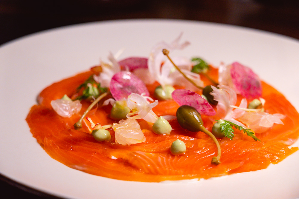 Salmon at Chameleon, a cocktail bar and restaurant in Shanghai. Photo by Rachel Gouk.