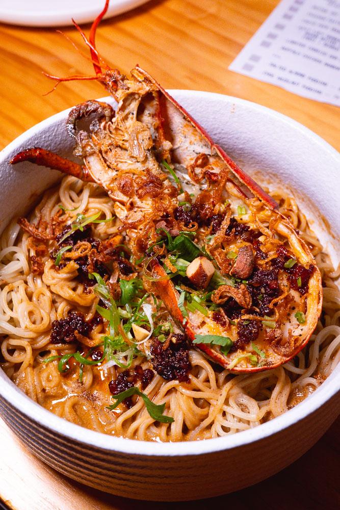 Lobster Dan Dan Mian. MSG, an NYC and izakaya culture-inspired pop-up by Austin Hu. Photo by Rachel Gouk @ Nomfluence.