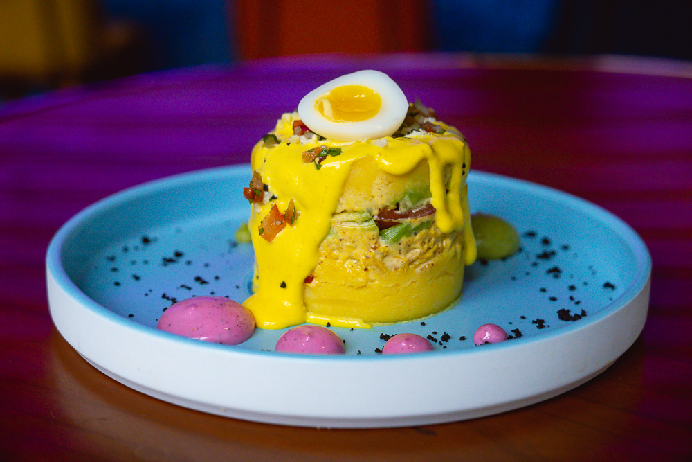 Lima Chicken Causa. Prawn Tostada. Azul brings its Peruvian-inspired brunch to Colca North Bund, Shanghai. Brunch starts at ¥168 for two courses, free-flow cava for ¥150. Photo by Rachel Gouk @ Nomfluence.