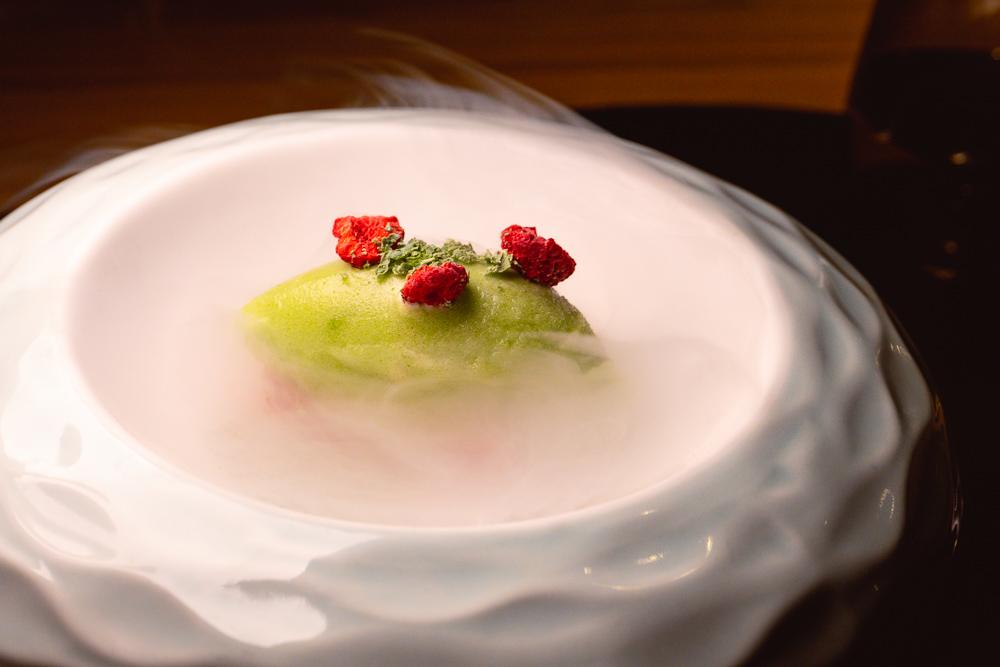 Green pea sorbet at Taian Table, Michelin two-star restaurant in Shanghai. Photo by Rachel Gouk @ Nomfluence.
