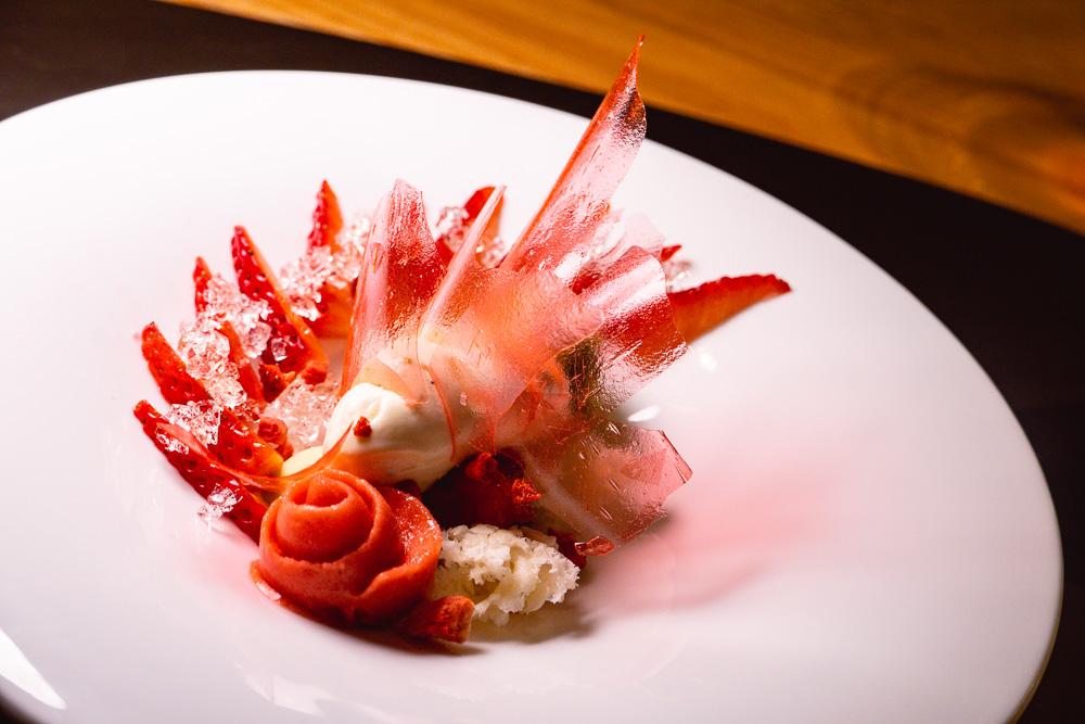 Strawberry dessert at Taian Table, Michelin two-star restaurant in Shanghai. Photo by Rachel Gouk @ Nomfluence.