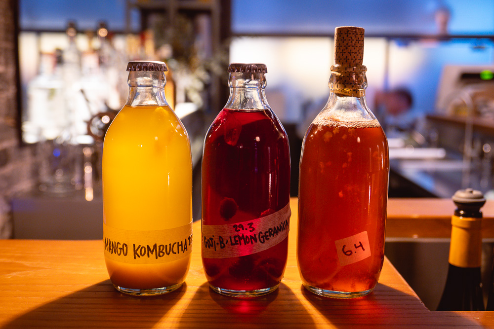 Kombucha at SOiF, a natural wine bar in Shanghai that serves French and European-influenced bites. Photo by Rachel Gouk @ Nomfluence.