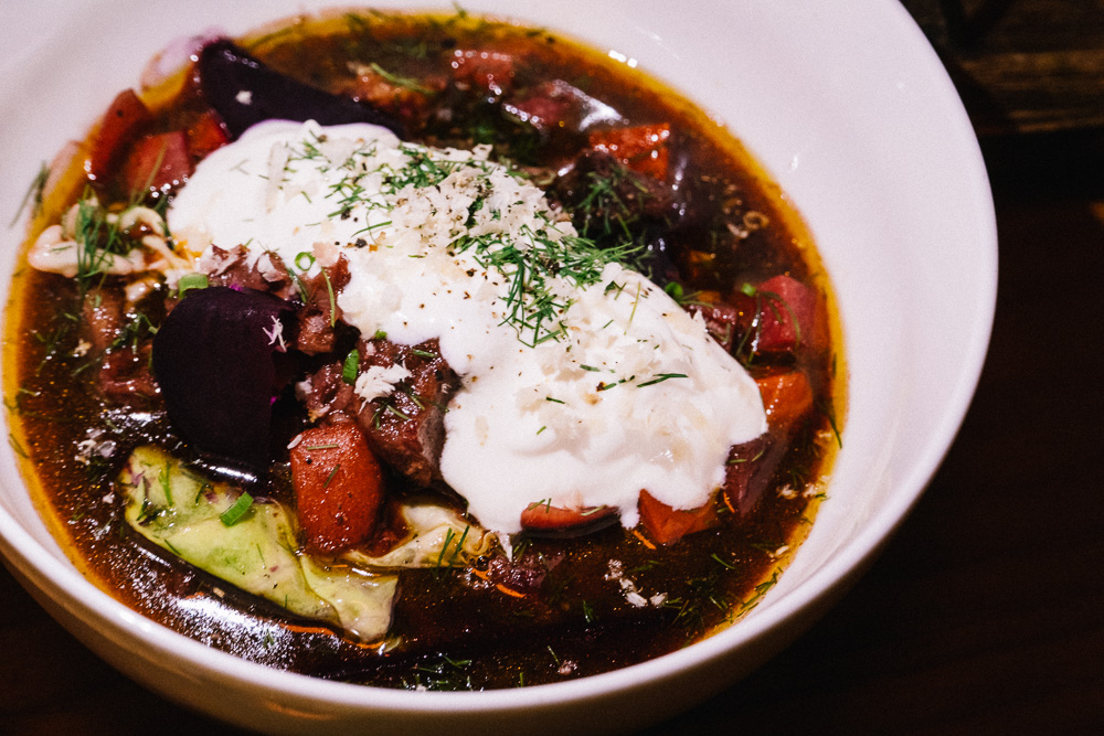 Braised Oxtail Borscht at SOiF, a natural wine bar in Shanghai that serves French and European-influenced bites. Photo by Rachel Gouk @ Nomfluence.