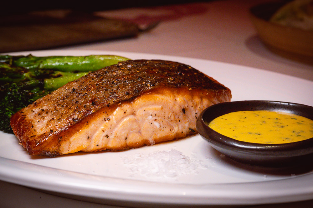 Salmon at Rye & Co, a classic American steakhouse in Shanghai. Photo by Rachel Gouk @ Nomfluence.