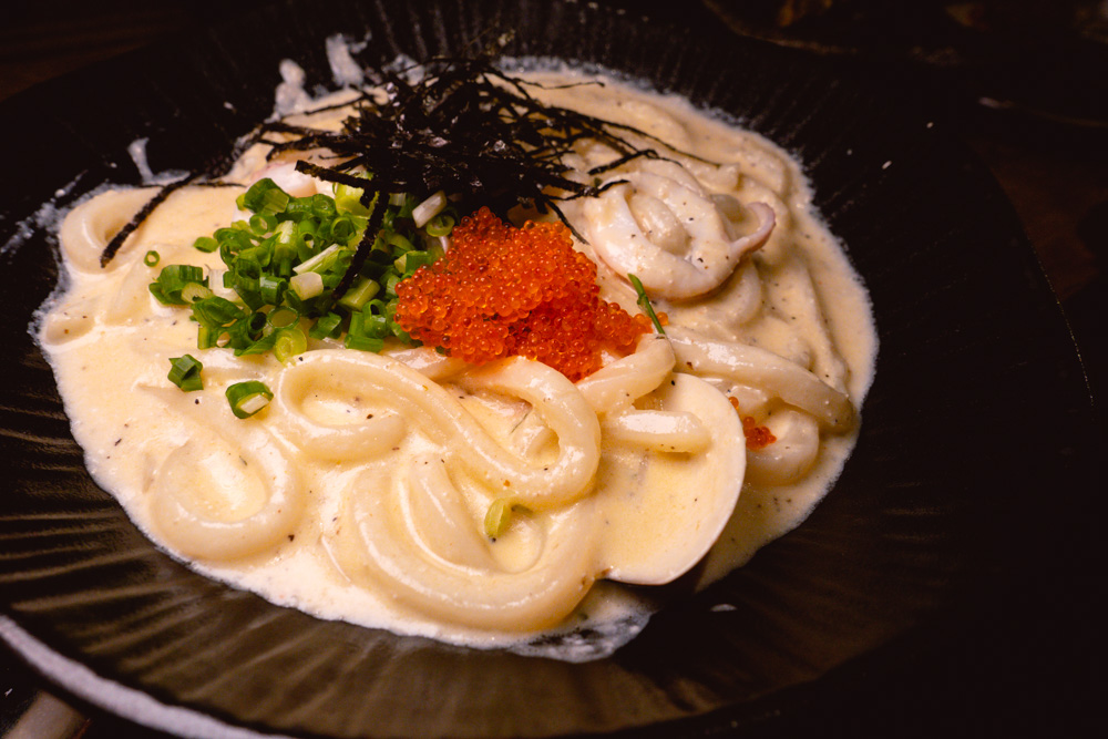 Creamy Mentaiko Udon at Yakingtori, a Japanese restaurant in Shanghai that does yakitori. Photo by Rachel Gouk @ Nomfluence.