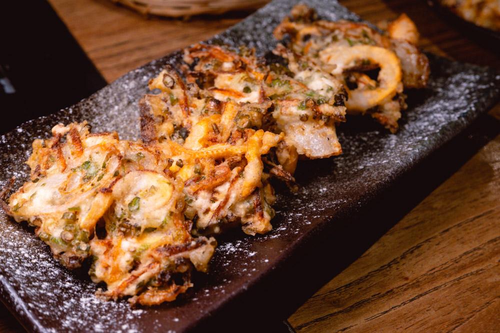 Deep-fried seafood pancake  at Yakingtori, a Japanese restaurant in Shanghai that does yakitori. Photo by Rachel Gouk @ Nomfluence.
