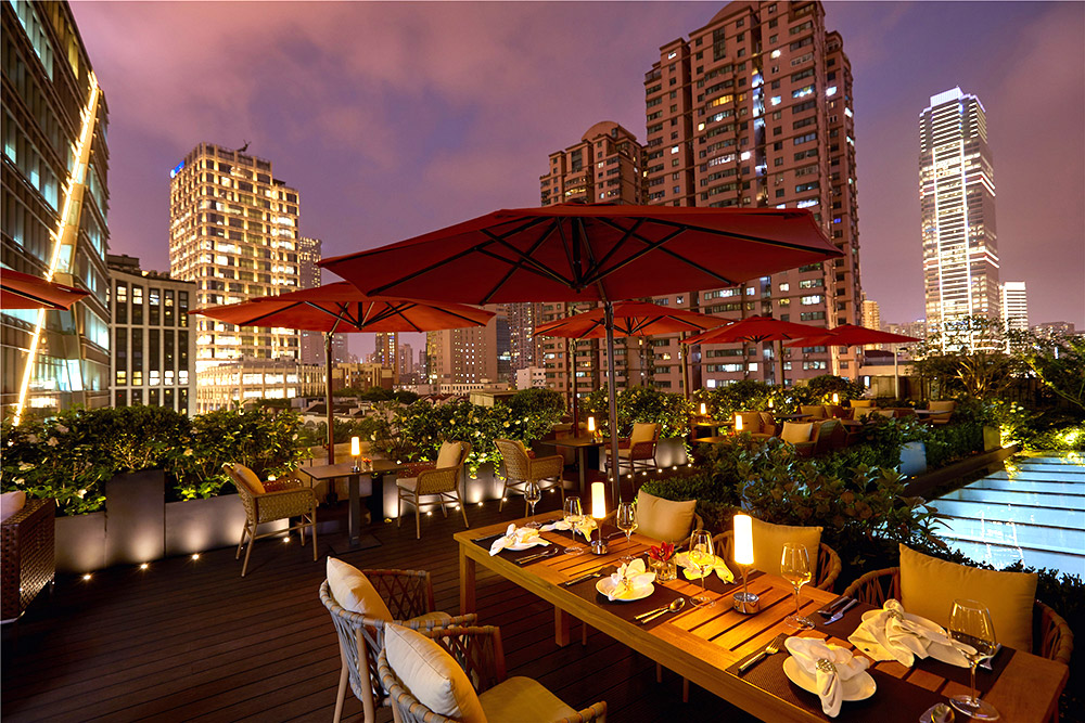 Space for rent: book your private event at this outdoor terrace at Kempinski The One Shanghai.