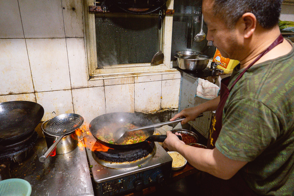 The kitchen at La Wei Xian 辣味鲜, a private kitchen serving authentic Sichuan food in Shanghai. Photo by Rachel Gouk @ Nomfluence.