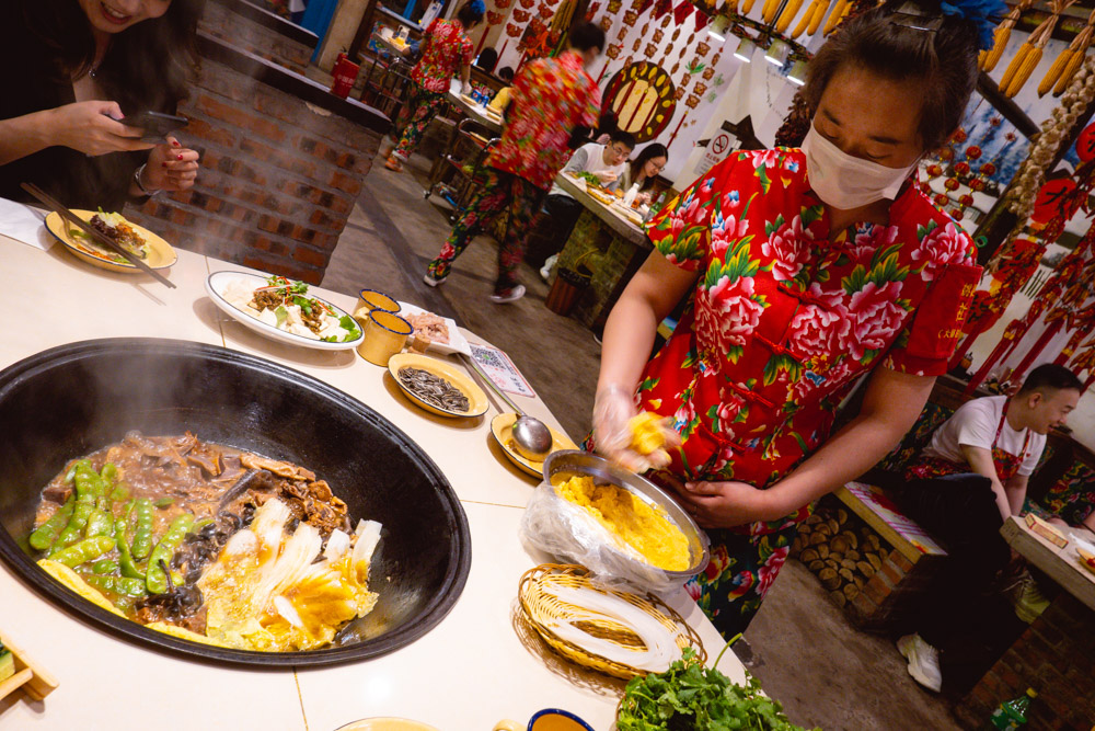 """Corn cakes at Yao Ji, a Chinese restaurant in Shanghai that specializes in Dongbei-style Iron Pot Stew """"Tie Guo Dun"""". Photo by Rachel Gouk @ Nomfluence."""