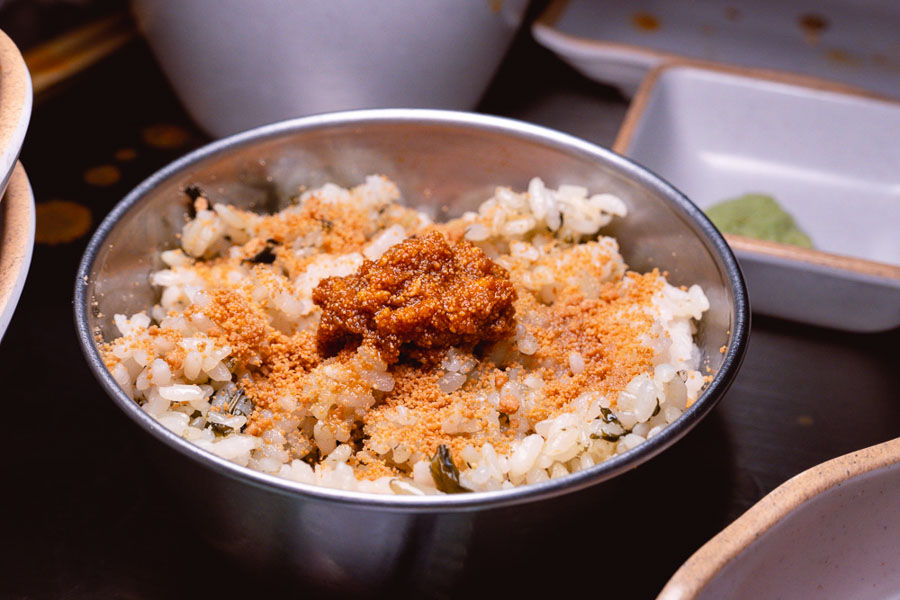 Mentaiko Rice at Botong Sikdang (JIng'an), a Korean restaurant in Shanghai that specializes in grilled pork and banchan. Photo by Rachel Gouk @ Nomfluence.