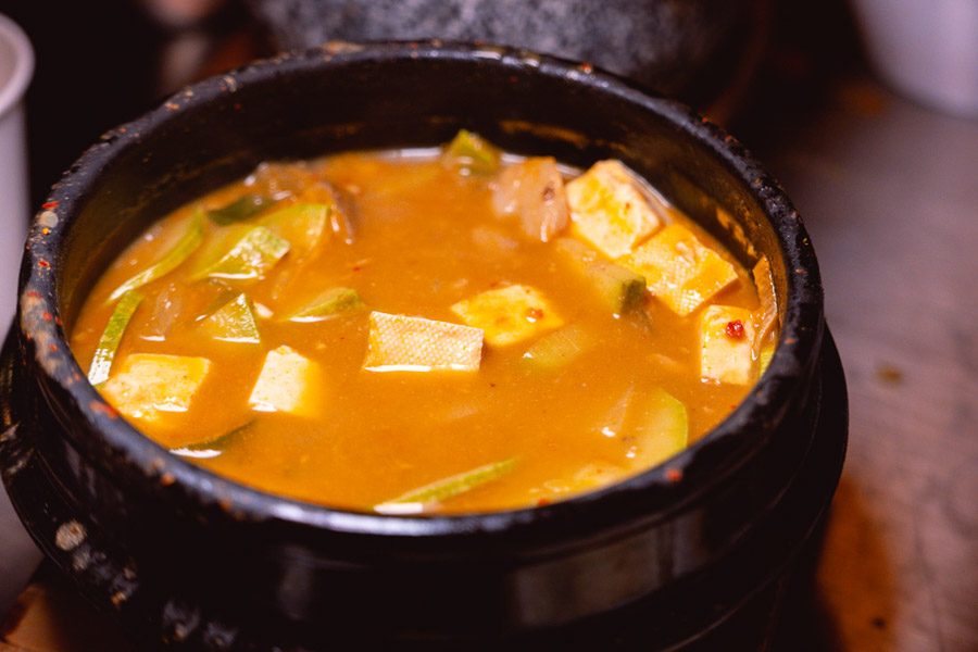 Jjigae at Botong Sikdang (JIng'an), a Korean restaurant in Shanghai that specializes in grilled pork and banchan. Photo by Rachel Gouk @ Nomfluence.