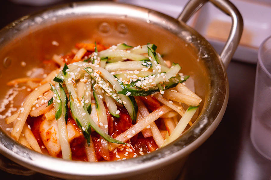 Kimchi cold noodles at Botong Sikdang (JIng'an), a Korean restaurant in Shanghai that specializes in grilled pork and banchan. Photo by Rachel Gouk @ Nomfluence.