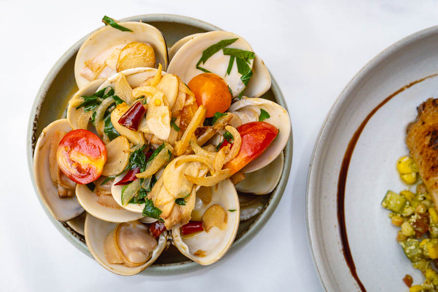 Steamed Clams at Vesta Blackstone Garden, an all-day brasserie in Shanghai, located in the historic Blackstone Apartments complex. Photo by Rachel Gouk @ Nomfluence.