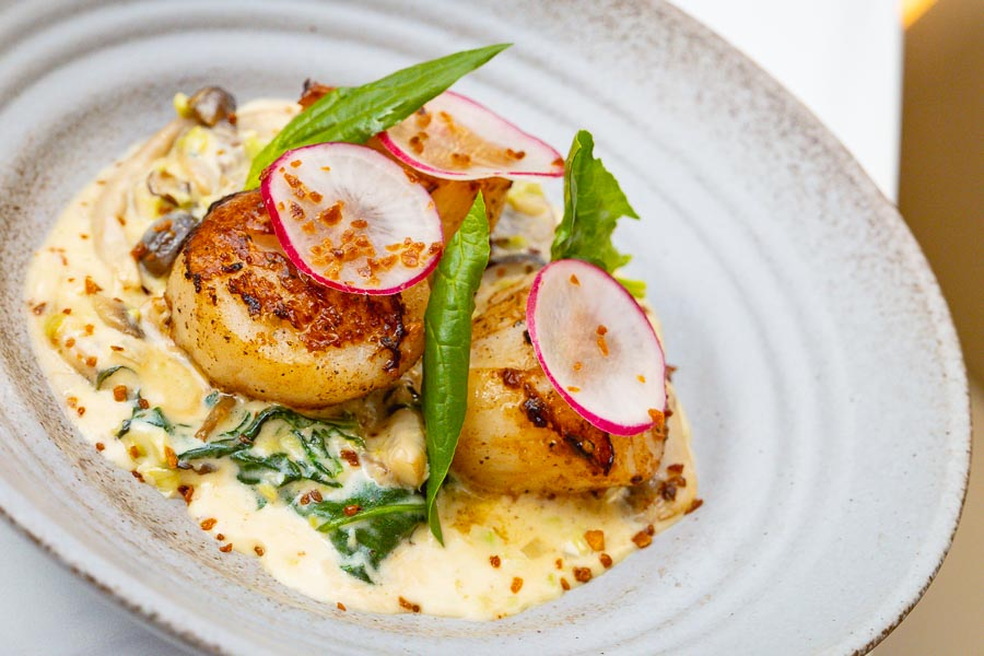 Scallops  at Vesta Blackstone Garden, an all-day brasserie in Shanghai, located in the historic Blackstone Apartments complex. Photo by Rachel Gouk @ Nomfluence.