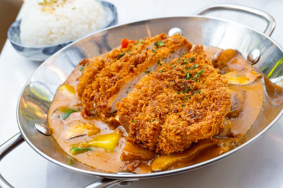Lunch set, Pork katsu with curry at Vesta Blackstone Garden, an all-day brasserie in Shanghai, located in the historic Blackstone Apartments complex. Photo by Rachel Gouk @ Nomfluence.