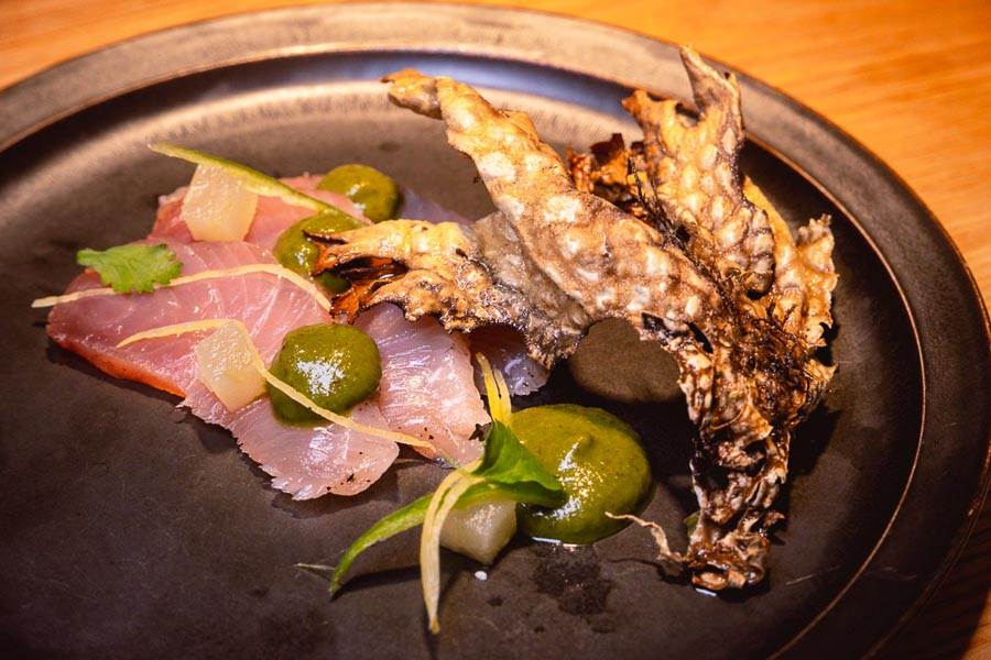 Kingfish with tree bark from Guizhou at Oha Eatery, a restaurant in Shanghai that specializes in experimental Guizhou food. Photo by Rachel Gouk @ Nomfluence.