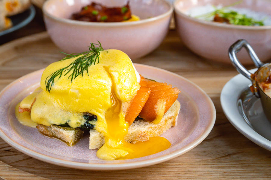 Eggs Benedict. Brunch at Luneurs One ITC. Luneurs is a popular bakery and ice cream shop in Shanghai. Photo by Rachel Gouk @ Nomfluence.