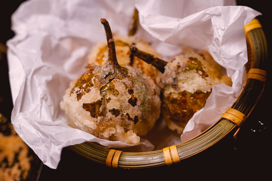 Stuffed eggplants at Maolago, a restaurant and bar in Shanghai that serves contemporary Guizhou food and wine. Photo by Rachel Gouk @ Nomfluence.