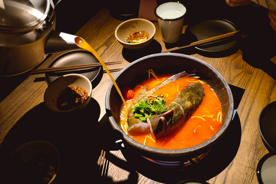 Hotpot at Maolago, a restaurant and bar in Shanghai that serves contemporary Guizhou food and wine. Photo by Rachel Gouk @ Nomfluence.