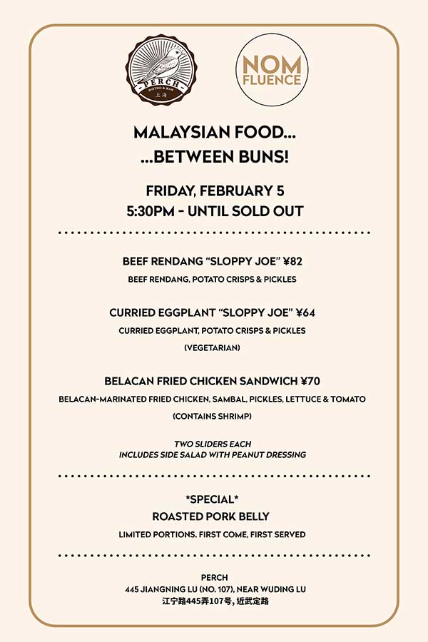 Nomfluence is bringing back Malaysian Food...Between Buns! Stacking Malaysian food in sandwiches at Perch on Friday, February 5.