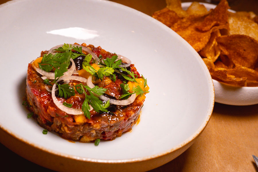 Beef Tartare at Blaz Canteen & Wine Bar, a French bistro in Shanghai. Photo by Rachel Gouk @ Nomfluence.