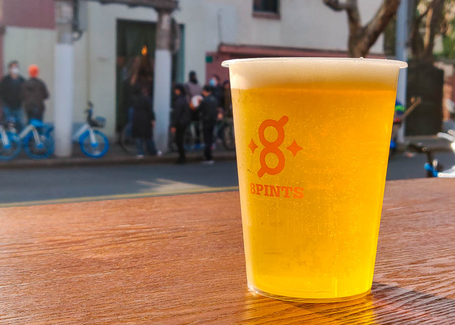 Gallo Blanco Lager. 8 Pints is an Anhui brewery's streetside craft beer bar with cheap tap beer in Shanghai.