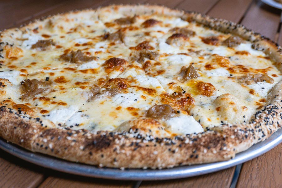Homeslice Shanghai Spring 2021 pizzas - Four Cheese pizza. Photo by Rachel Gouk @ Nomfluence