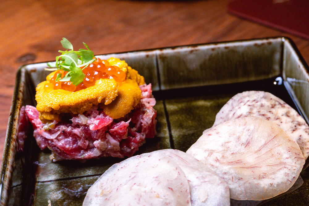 Beef Tartare. Hundo is a Japanese restaurant in Shanghai serving yakiniku, yakitori, tempura and sushi on Donghu Lu. Photo by Rachel Gouk @ Nomfluence