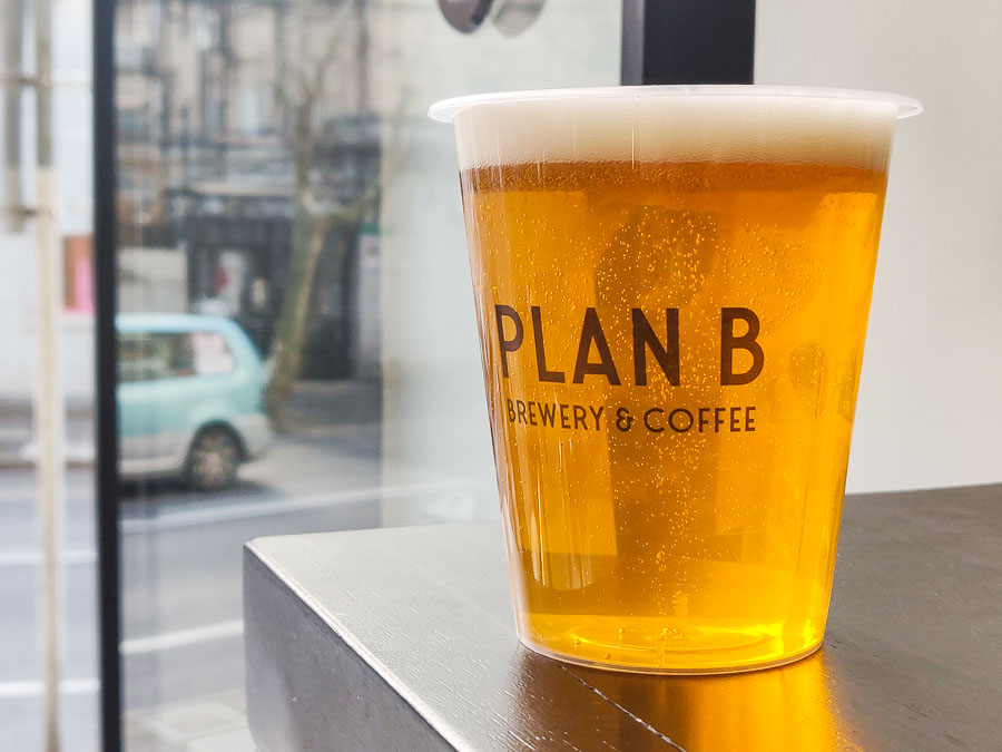 PB Gold Lager. Plan B Brewery & Coffee is an independent brewery and coffeeshop serving cheap tap craft beer in Xuhui,  Shanghai.