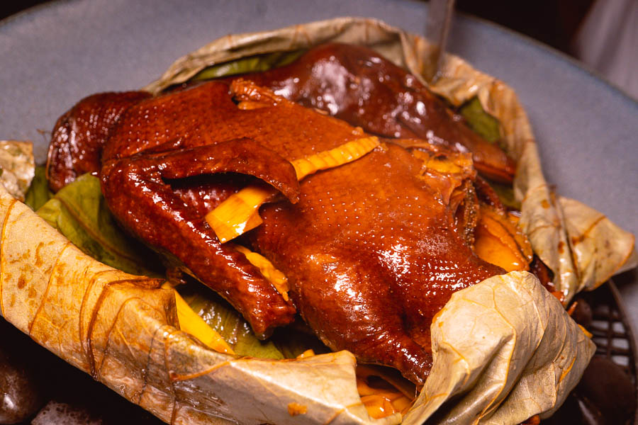 Baked duck in lotus leaf with abalone. The Dining Room (Yue Xuan 悦轩), modern Chinese restaurant serving Jiangnan cuisine at the Park Hyatt Shanghai. Photo by Rachel Gouk @ Nomfluence.