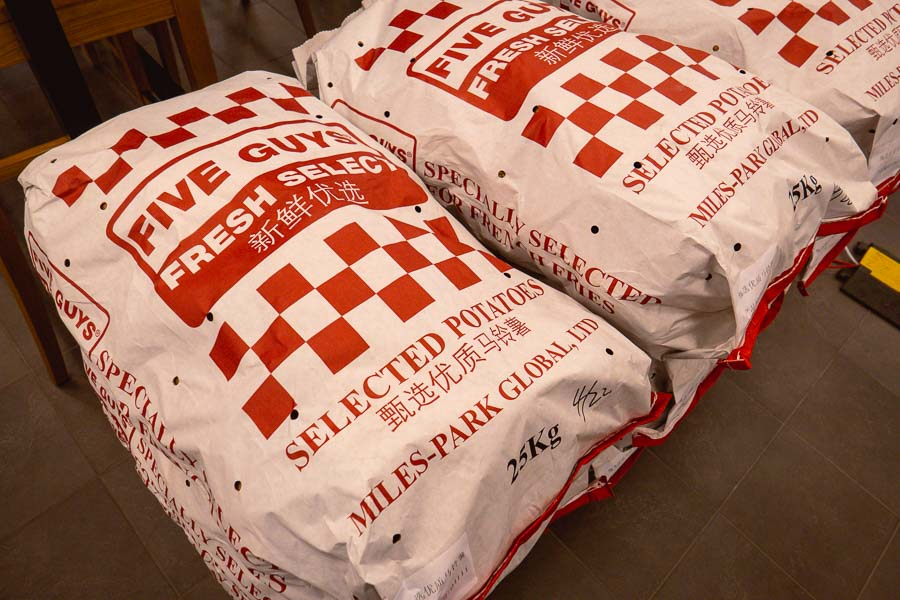 World famous burger chain Five Guys opens its first location in Shanghai, China. Photo by Rachel Gouk @ Nomfluence.