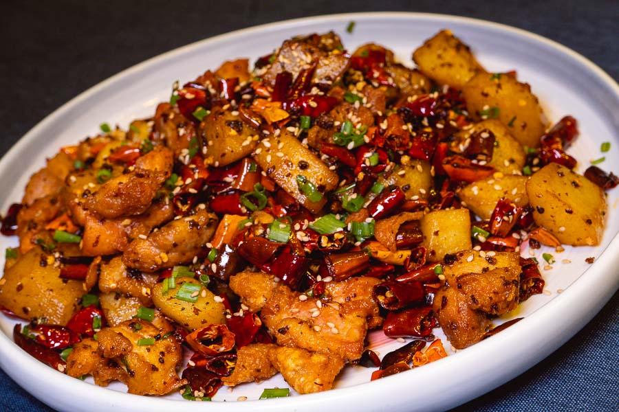La Zi Ji chicken at Ronglek, a cheap Yunnan restaurant in Shanghai. Photo by Rachel Gouk @ Nomfluence.