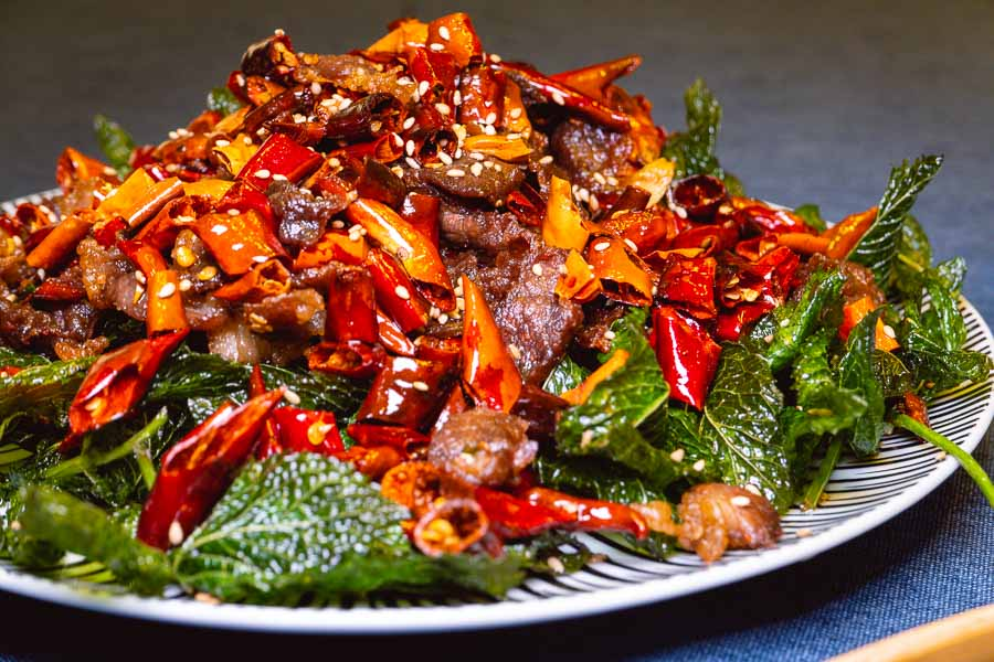 Fried yak jerky at Ronglek, a cheap Yunnan restaurant in Shanghai. Photo by Rachel Gouk @ Nomfluence.