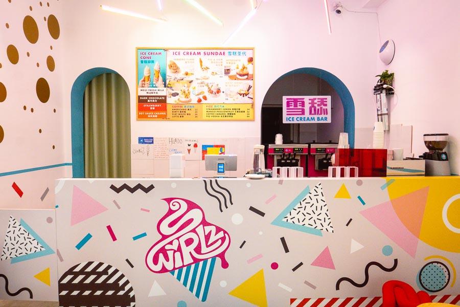 Swirlz is an ice cream bar on Yuyuan Lu, Shanghai. Funky flavors like soy sauce caramel ice cream. Photo by Rachel Gouk @ Nomfluence.