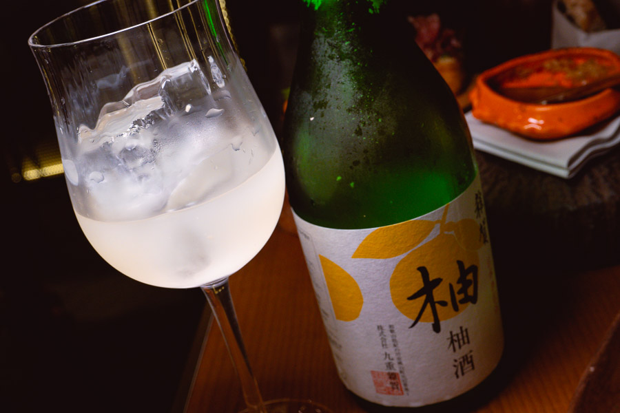 Yuzu Liquor at Sakaba Malabar, a Spanish restaurant and bar with Japanese influences in Jing'an, Shanghai. Photo by Rachel Gouk @ Nomfluence.