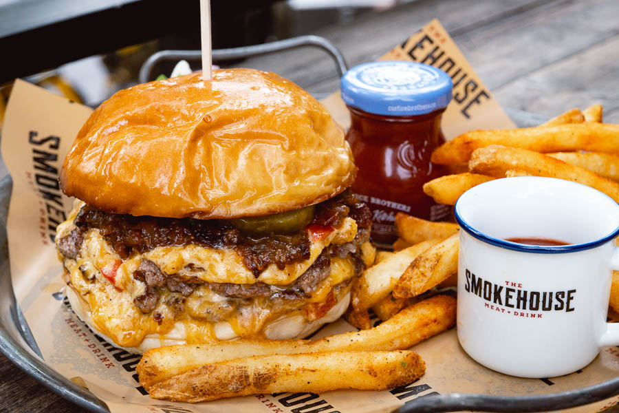Double smash burger at The Smokehouse. Shanghai Burger Month 2021 is a moth dedicated to the love of burgers, brought to you by food & drink blog Nomfluence.